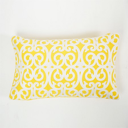 Design Republique Casablanca Embroidered Yellow Cushion