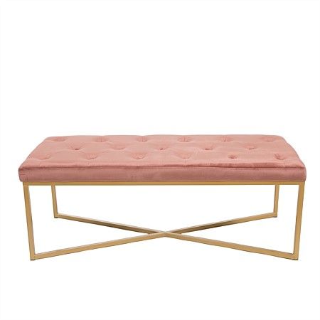 Design Republique Pink Velvet Bench with Gold Legs