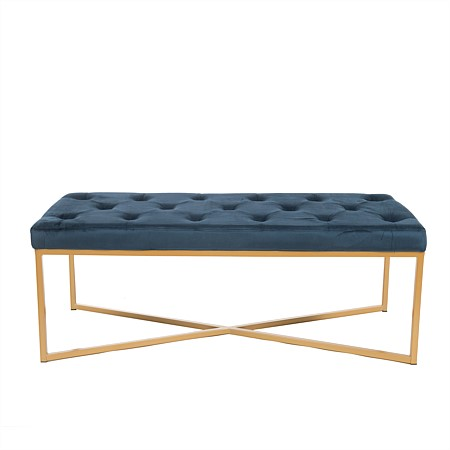 Design Republique Blue Velvet Bench with Gold Legs