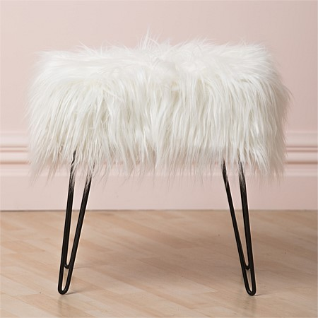 Home Chic Whitehorse Faux Fur Stool