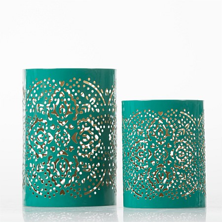 Home Chic Ava Green & Gold Candle Holder