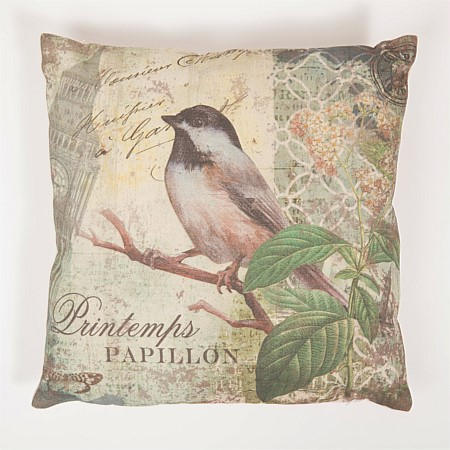 Flourish Chicadee White Bird Cushion