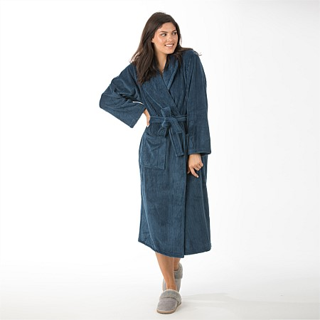 Solace Textured Lines 3/4 Fleece Bathrobe - Blue